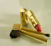 Makeup Brushes. Lipstick and makeup applicator brushes stock images
