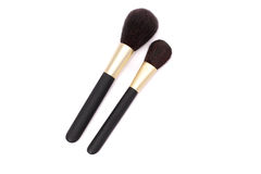 Makeup brushes. Some different kind of makeup brushes isolated on white royalty free stock photography