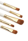 Makeup brushes. Some different kind of makeup brushes isolated on white stock photos