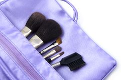 Makeup Brushes. In Pouch Royalty Free Stock Photography