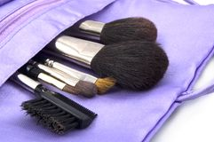 Makeup Brushes. In Pouch Royalty Free Stock Photo