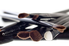 Makeup brushes. Makeup brushes on the white background Royalty Free Stock Image
