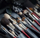 Makeup brushes. In black case Stock Image