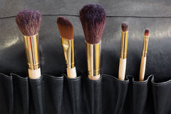 Makeup Brushes in a black cover Royalty Free Stock Image