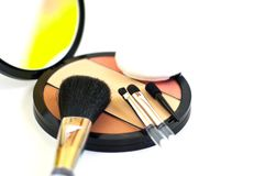Makeup brushes and blush Stock Photo