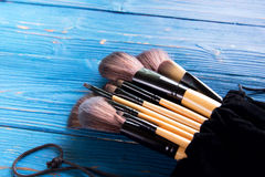 Makeup brushes in case Stock Photos