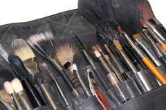 Makeup brushes in case Royalty Free Stock Photo