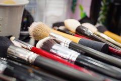 Makeup brushes, closeup Stock Photo