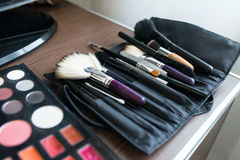 Makeup brushes, closeup Royalty Free Stock Images