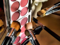 Makeup brushes and color palette. Royalty Free Stock Image
