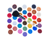 Makeup brushes and cosmetic powder Stock Photos