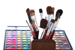 Makeup brushes and cosmetic powder Stock Photography