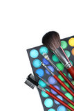 Makeup brushes and cosmetics Royalty Free Stock Photo