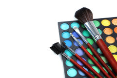 Makeup brushes and cosmetics Royalty Free Stock Images