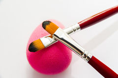 Makeup brushes and cotton Royalty Free Stock Photos