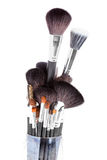 Makeup brushes in a glass Royalty Free Stock Photos