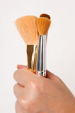 Makeup brushes held by hand Royalty Free Stock Image