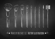 Makeup brushes kit Stock Photos