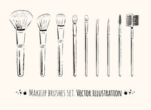 Makeup brushes kit Royalty Free Stock Image