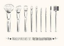 Makeup brushes kit Royalty Free Stock Image