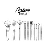 Makeup brushes kit, isolated on white background. Royalty Free Stock Photos