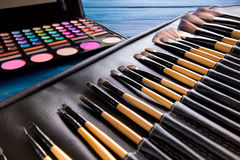 Makeup brushes in leather case Stock Images