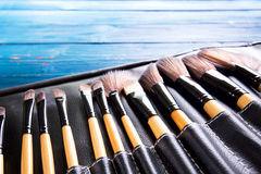Makeup brushes in leather case Royalty Free Stock Images