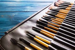 Makeup brushes in leather case Royalty Free Stock Photo