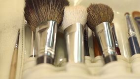 Make-up brushes in leather case, close-up. Makeup brushes in leather case. Various makeup brush set close-up. Makeup brush set stock footage