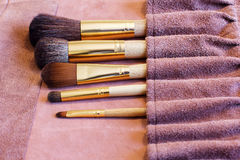 Makeup Brushes in a leather cover Royalty Free Stock Photo
