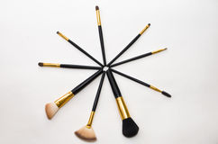 Makeup brushes Stock Photos