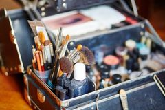 Makeup brushes in makeup artist case Stock Images