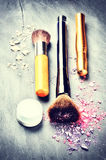 Makeup brushes and makeup products Stock Photo