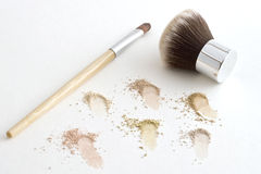 Makeup Brushes and Mineral Powder. Mineral Foundation and Two Applicator Brushes Stock Images