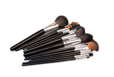 Makeup brushes. O a white background Stock Image