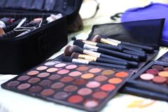 Makeup. Brushes pallet beauty wedding Royalty Free Stock Photo