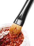 Makeup brushes and powder. Over white Stock Photography