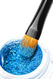 Makeup brushes and powder. Over white Royalty Free Stock Photos