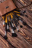 Makeup brushes scattered from cosmetic bag. Royalty Free Stock Images