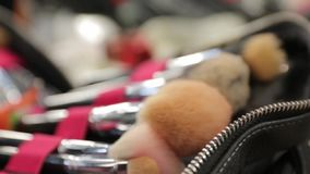 Makeup Brushes Set. Closeup female in slow motion with camera movement stock footage