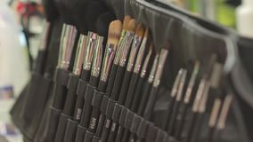 The Makeup Brushes Set. Closeup in slow motion with camera movement stock video