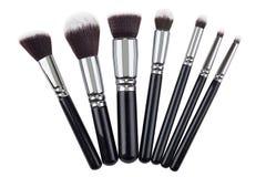Makeup brushes set. Isolated. White background Stock Photos