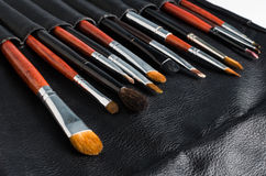 Makeup brushes. Set of makeup brushes in leaser case Royalty Free Stock Photography