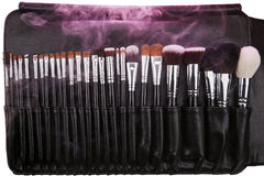 Makeup brushes set in leather case. Pink smoke. Isolated. White Stock Image