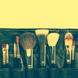 Makeup brushes set. Toned image Royalty Free Stock Photo