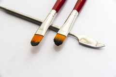 Makeup brushes and spatula Royalty Free Stock Photo