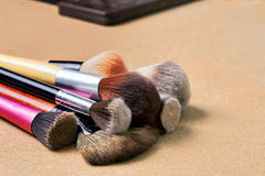 Makeup brushes. In a studio shot Royalty Free Stock Photography