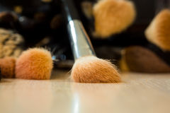 Makeup brushes on tabel. Beauty and fashion. Makeup brushes on table Stock Photography