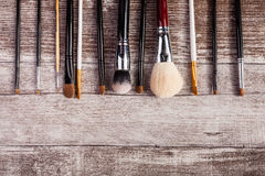 Makeup brushes in on top view image Stock Images