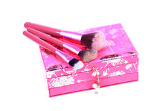 Makeup brushes and vanity box Royalty Free Stock Photography